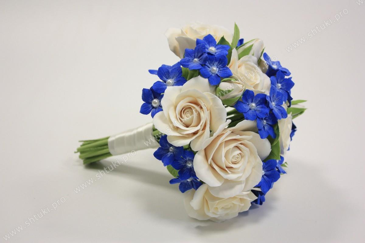 Букет бело-голубой свадебный